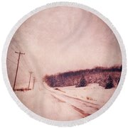 Country Road In Snow Round Beach Towel by Jill Battaglia
