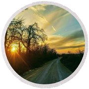 Country Road Please Take Me Home Round Beach Towel