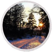 Country Road Sunset Round Beach Towel