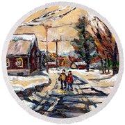 Purchase Best Original Quebec Winter Scene Paintings Achetez  Paysage De Quebec Cspandau Art Round Beach Towel