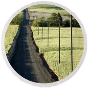 Country Road, Wheat Fields Round Beach Towel