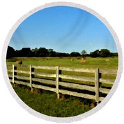 Country Scene With Field And Hay Bales Round Beach Towel