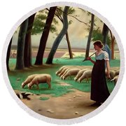 Country Shepherdess  Round Beach Towel