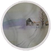 Country Snow Round Beach Towel