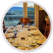 Country Table Setting Round Beach Towel