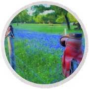Country Western Blue Bonnets Round Beach Towel