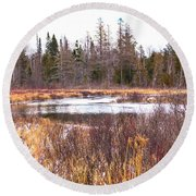 Country Winter 11 Round Beach Towel