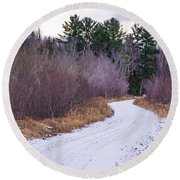 Country Winter 13 Round Beach Towel
