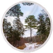 Country Winter 14 Round Beach Towel