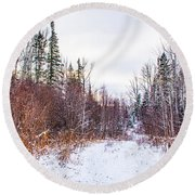 Country Winter 6 Round Beach Towel