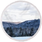 Country Winter Road Round Beach Towel