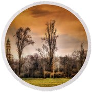 Countryscape With Bell Tower Round Beach Towel