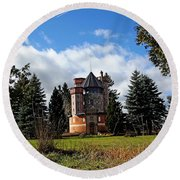 Countryside Castle Round Beach Towel