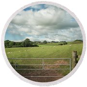 Countryside In Wales Round Beach Towel