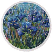 Countryside Irises Oil Painting With Palette Knife Round Beach Towel