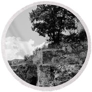 Countryside Of Italy Bnw 2 Round Beach Towel