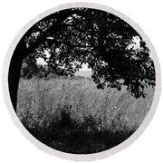 Countryside Of Italy Bnw Round Beach Towel