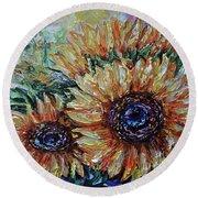 Countryside Sunflowers Round Beach Towel