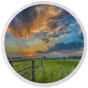 Countryside Sunset Round Beach Towel