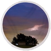 County Line 1 Northern Colorado Lightning Storm Round Beach Towel by James BO  Insogna