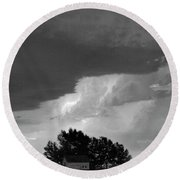 County Line Northern Colorado Lightning Storm Bw Round Beach Towel