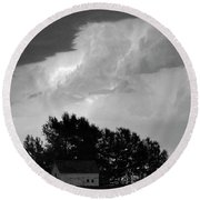 County Line Northern Colorado Lightning Storm Bw Pano Round Beach Towel by James BO  Insogna