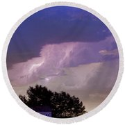 County Line Northern Colorado Lightning Storm Cropped Round Beach Towel