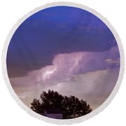 County Line Northern Colorado Lightning Storm Round Beach Towel