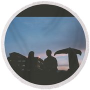 Couple And Cetacean Round Beach Towel