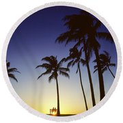 Couple And Sunset Palms Round Beach Towel
