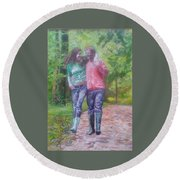 Couple In Love Round Beach Towel