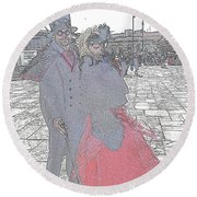 Couple In Red Round Beach Towel