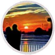 Romantic Sunrise. Round Beach Towel