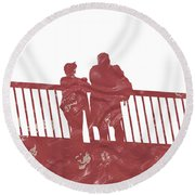 Couple On Bridge Round Beach Towel