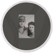 Couple Portrait 2 Round Beach Towel