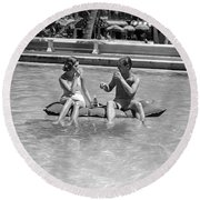 Couple Relaxing In Pool, C.1930-40s Round Beach Towel