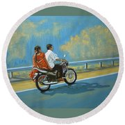 Couple Ride On Bike Round Beach Towel