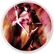 Couple Tango Art Round Beach Towel