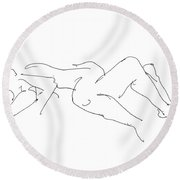 Couples Erotic Art 4 Round Beach Towel
