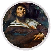 Courbet: Self-portrait Round Beach Towel