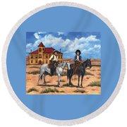 Courthouse Cowboys Round Beach Towel