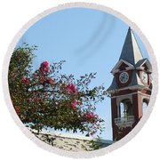 Courthouse In Spring Round Beach Towel