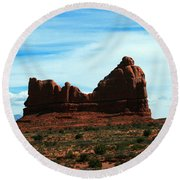 Courthouse Rock In Arches National Park Round Beach Towel