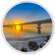 Courtney Campbell Bridge Sunrise - Tampa, Florida Round Beach Towel