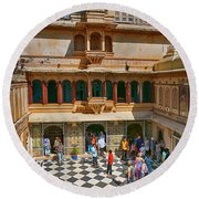Courtyard, City Palace, Udaipur Round Beach Towel