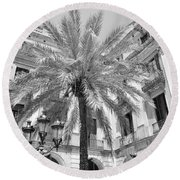 Courtyard Palm Round Beach Towel