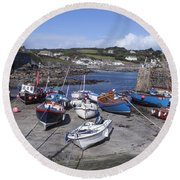Coverack Harbour Cornwall Round Beach Towel