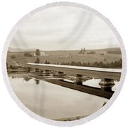 Very Long Covered Bridge Over A River Round Beach Towel