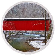 Covered Bridge Along The Wissahickon Creek Round Beach Towel