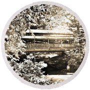 Covered Bridge At Lanterman's Mill Black And White Round Beach Towel